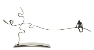 "SOLD ""The Question,"" by Janis Woode steel plate, wrapped steel wire – 13"" (H) x 29"" (L) x 3"" (W) $2900"