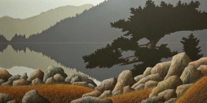 "SOLD ""A Quiet Place,"" by Ken Kirkby 30 x 60 – oil $4500 Unframed"
