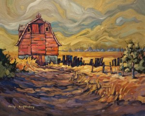 "SOLD ""Red Barn,"" by Phil Buytendorp 16 x 20 – oil $1475 Unframed"