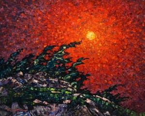 "SOLD ""Red Sky,"" by Phil Buytendorp 16 x 20 – oil $1475 Unframed"