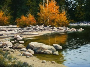 "SOLD ""September Reflections,"" by Merv Brandel 9 x 12 – oil $1025 Unframed $1260 Custom framed"