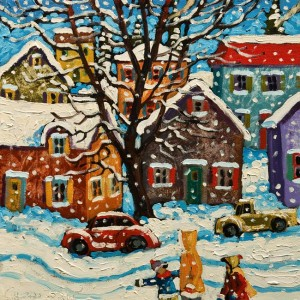 "SOLD ""Snowflakes,"" by Rod Charlesworth 12 x 12 – oil $1200 Unframed $1340 Custom framed"