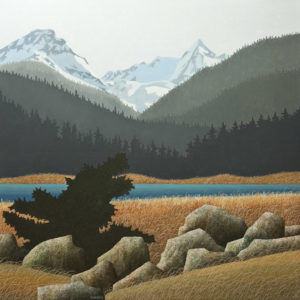"SOLD ""Snow in the High Country,"" by Ken Kirkby 36 x 36 – oil $3600 Unframed"