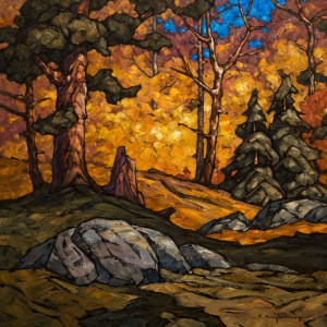 "SOLD ""Stepping into Autumn,"" by Phil Buytendorp 24 x 24 – oil $1870 Unframed"