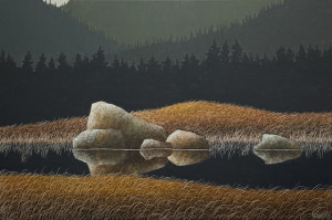"SOLD ""Upon Reflection,"" by Ken Kirkby 20 x 30 – oil $1800 Unframed"