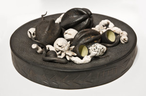 "SOLD ADAMAH with Cargo (LR-208) by Laurie Rolland hand-built ceramic – 5"" (H) x 16"" (L) x 16"" (W) $800"