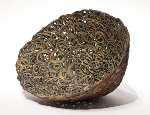 "SOLD Green Nest (LR-212) by Laurie Rolland hand-built ceramic – 6"" (H) x 9 1/2"" (L) x 5 1/2"" (W) $700"