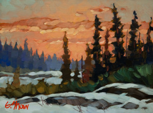 "SOLD ""Afterglow, Edzo, N.W.T.,"" by Graeme Shaw 6 x 8 – oil $435 Unframed"