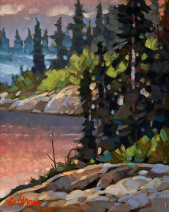 "SOLD ""As Evening Comes, Stagg River, N.W.T."" by Graeme Shaw 8 x 10 - oil $500 Unframed $700 in show frame"