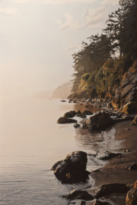 "SOLD ""Autumn Shore,"" by Ron Parker 24 x 36 – oil $4400 Unframed"