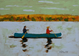 "SOLD ""Blue Canoe"" by Paul Healey 5 x 7 - acrylic $275 Unframed $450 in show frame"