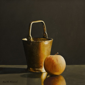 "SOLD ""Brass Bucket"" by Keith Hiscock 8 x 8 - oil $775 Unframed $950 in show frame"
