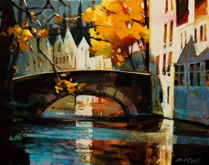 "SOLD ""Brugge in Autumn"" by Michael O'Toole 11 x 14 - acrylic $875 Unframed $1020 in show frame"