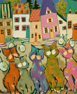 "SOLD ""Les Chats du Village"" by Claudette Castonguay 10 x 12 - acrylic $370 Unframed $460 in show frame"