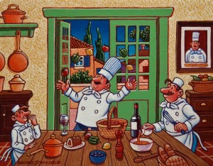 "SOLD ""Chef Fernand Lefrog in His Kitchen,"" by Michael Stockdale 8 x 10 – acrylic $400 Unframed $500 Custom framed"