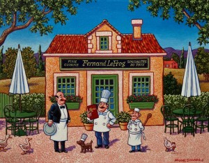 "SOLD ""Chef Fernand Lefrog Opens His New Restaurant,"" by Michael Stockdale 11 x 14 – acrylic $580 Unframed $700 Custom framed"