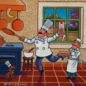 "SOLD ""Chef Fernand Lefrog's Famous Pancakes,"" by Michael Stockdale 8 x 8 – acrylic $350 Unframed $445 Custom framed"