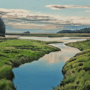 """Chemainus Summer Estuary,"" by Ron Parker 12 x 12 - oil $1750 Unframed $2000 Custom framed"