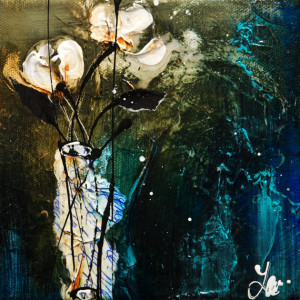 "SOLD ""Cure for Blues"" by Laura Harris 6 x 6 - acrylic $600 Unframed $725 in show frame"