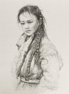 "SOLD ""Daughter of the Plateau,"" by Donna Zhang 9 1/2 x 13 1/2 – drawing $1280 Custom framed"