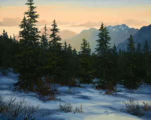"SOLD ""Dawn Breaks"" by Merv Brandel 8 x 10 - oil $900 Unframed $1115 in show frame"