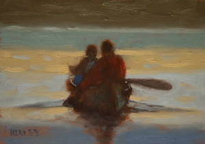 "SOLD ""Evening Paddle"" by Paul Healey 5 x 7 - oil $275 Unframed $450 in show frame"