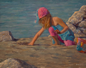"""Exploring in the Sand,"" by Don Li 11 x 14 - oil $1400 Unframed $1650 Custom framed"
