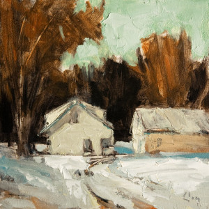"SOLD ""Ferme Chemin, Senneville 1"" by Robert P. Roy 10 x 10 - oil $450 Unframed $650 in show frame"