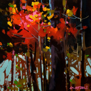 "SOLD ""Fire Red of Autumn"" by Michael O'Toole 10 x 10 - acrylic $640 Unframed $765 in show frame"