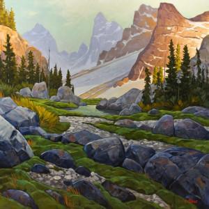 "SOLD ""First Rays Through the Pass,"" by Graeme Shaw 48 x 48 - oil $6600 (thick canvas wrap without frame)"