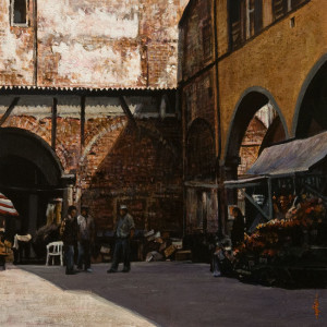 "SOLD ""Fornaci di Barga"" by Alan Wylie 12 x 12 - acrylic $1770 Unframed $1980 in show frame"