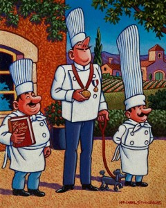 "SOLD ""French Chefs,"" by Michael Stockdale 8 x 10 – acrylic $400 Unframed $500 Custom framed"