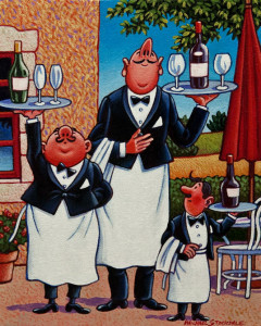 "SOLD ""French Waiters,"" by Michael Stockdale 8 x 10 – acrylic $400 Unframed $500 Custom framed"