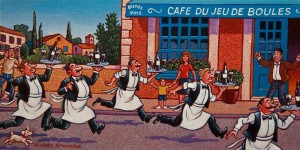 "SOLD ""French Waiter's Race"" by Michael Stockdale 6 x 12 - acrylic $370 Unframed $470 in show frame"