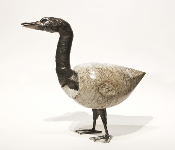 """Grey Goose,"" by Tobias Luttmer 16 1/2"" (H) x 18 1/2"" (L) x 8"" (W) - granite and stainless steel $3700"