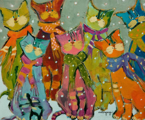 "SOLD ""The Group of Seven"" by Claudette Castonguay 10 x 12 - acrylic $370 Unframed $490 in show frame"
