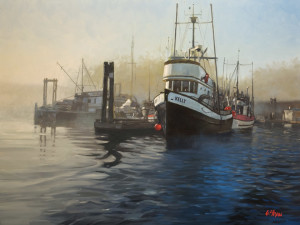 "SOLD ""Harbour Morning,"" by Graeme Shaw 30 x 40 – oil $3700 (thick canvas wrap without frame)"