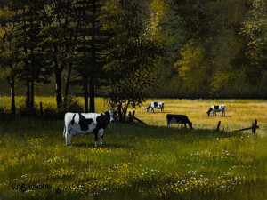 "SOLD ""Holsteins"" by Bill Saunders 6 x 8 - acrylic $500 Unframed $685 in show frame"