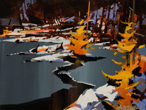 "SOLD ""Ice Cover, Autumn"" by Michael O'Toole 9 x 12 - acrylic $660 Unframed $925 in show frame"