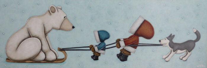 """""""In This Together,"""" by Peter Wyse 12 x 36 - acrylic $1920 (unframed panel with 1 1/2"""" edging)"""