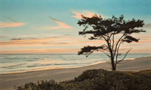 "SOLD ""Kalaloch Sundown,"" by Ron Parker 24 x 40 – oil $4850 Unframed"