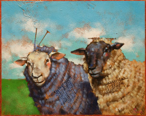 "SOLD ""Knit Wits"" by Angie Rees 8 x 10 - acrylic $525 (unframed panel with 1 1/2"" edges) $625 in show frame"