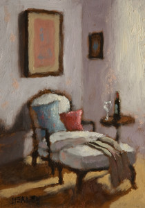 "SOLD ""Lounging"" by Paul Healey 5 x 7 - oil $275 Unframed $450 in show frame"