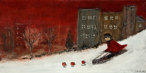 "SOLD ""La Luge"" (The Toboggan) by Louise Lauzon 5 x 10 - acrylic $260 Unframed $425 in show frame"