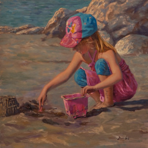 """Making a Sand Castle,"" by Don Li 10 x 10 - oil $1050 Unframed $1280 Custom framed"