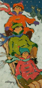"SOLD ""The Nice Weekend"" by Claudette Castonguay 6 x 12 - acrylic $280 Unframed $360 in show frame"