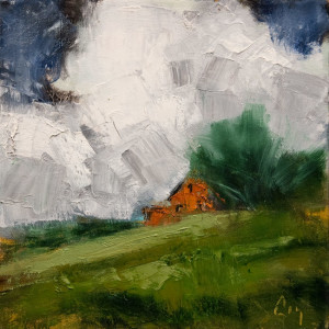 "SOLD ""Nuages 1"" by Robert P. Roy 10 x 10 - oil $450 Unframed $650 in show frame"