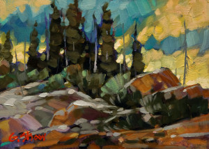 "SOLD ""On the Old Road to Yellowknife,"" by Graeme Shaw 5 x 7 – oil $410 Unframed"