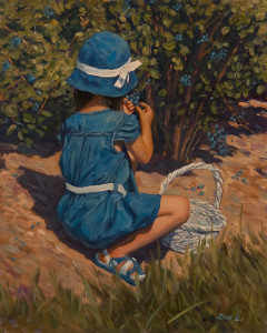 """Picking Blueberries,"" by Don Li 8 x 10 - oil $1000 Unframed"