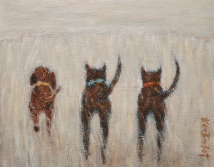 "SOLD ""Pick Up the Pace Guys,"" by Bev Binfet 8 x 10 – oil $370 Unframed $470 in show frame"